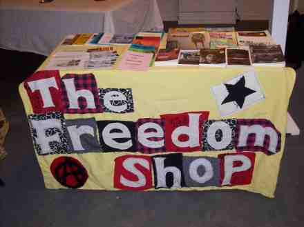 Freedom Shop book stall at Tory