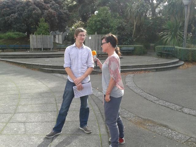 Paul getting interviewed